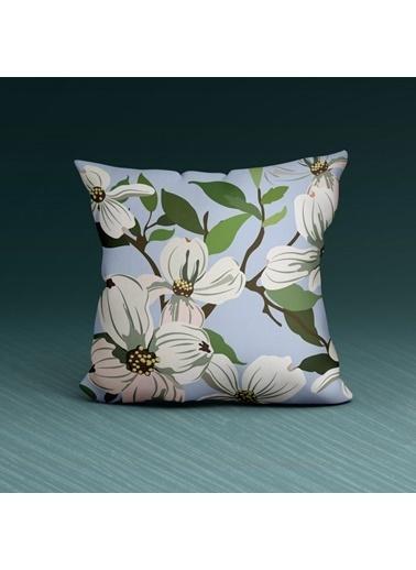 Artikel Minimal Çiçek Desenli Dekoratif Çift Taraflı Yastık Kırlent Kılıfı 45x45 cm Renkli